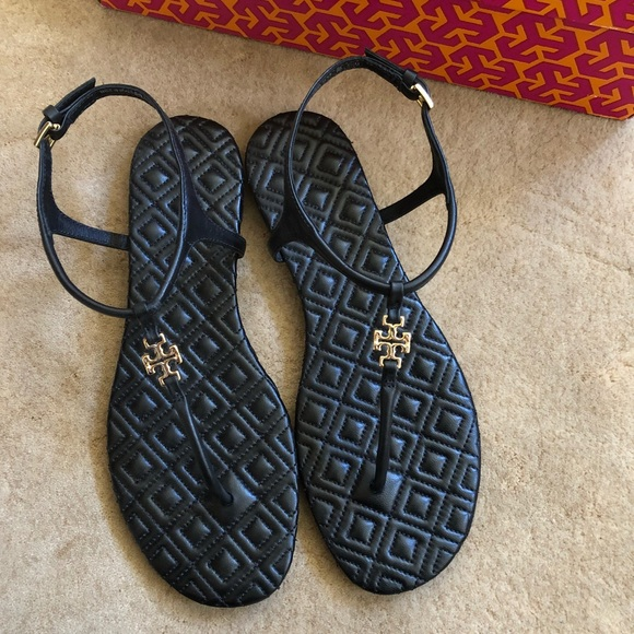39c928156 Tory Burch Marion Quilted Sandal - size 5.5 black